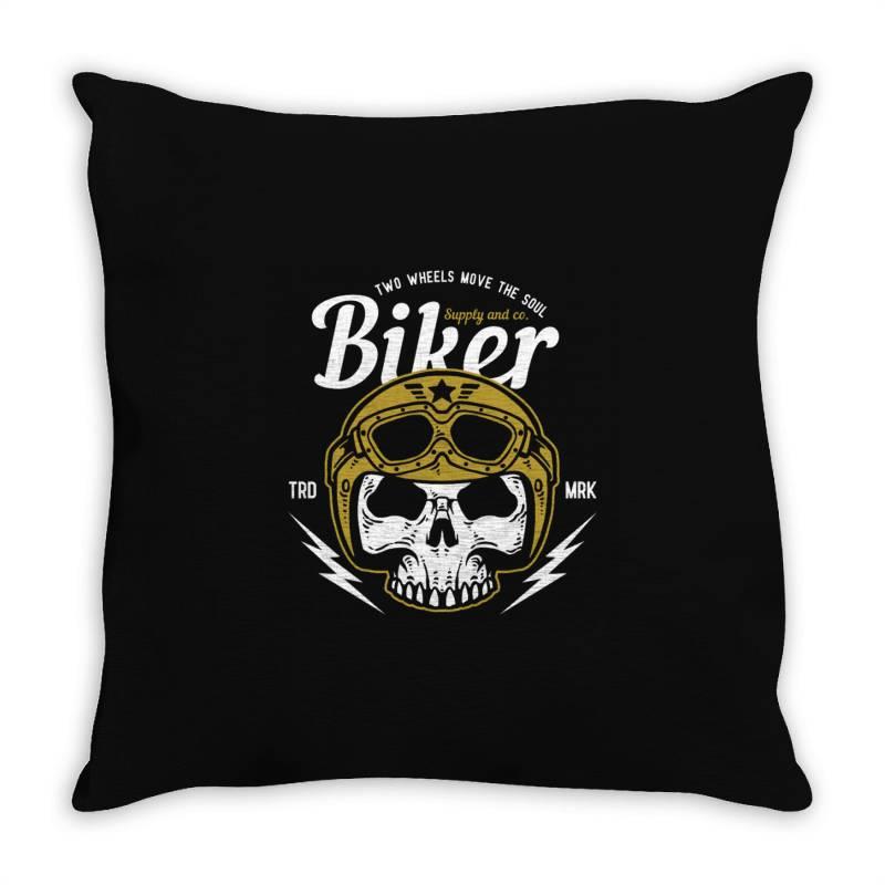 Skull Biker Wear Helmet Throw Pillow | Artistshot
