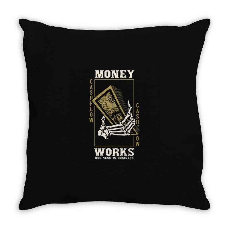 Skull Hand Holding Money Throw Pillow | Artistshot
