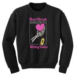 skull hand holding a heart love with price tag on it Youth Sweatshirt | Artistshot