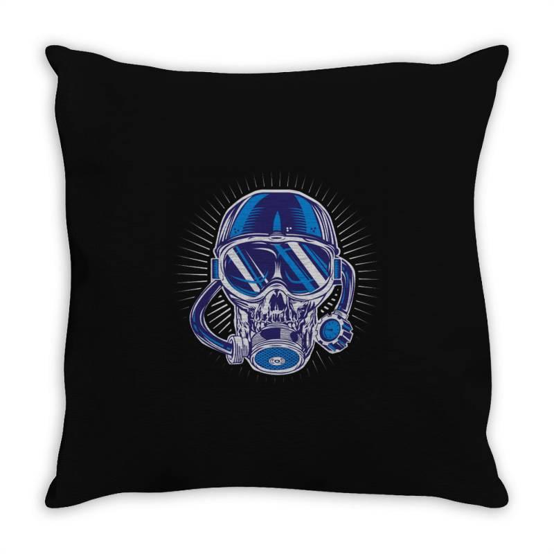 Skull Diver Throw Pillow | Artistshot
