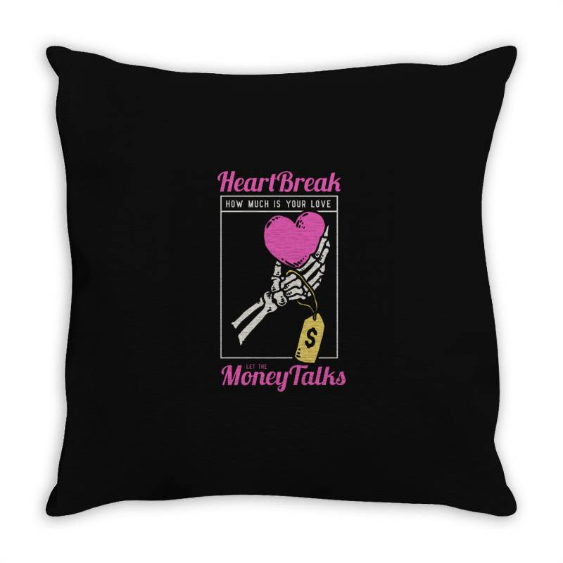 Skull Hand Holding A Heart Love With Price Tag On It Throw Pillow | Artistshot