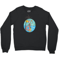 skull drink on the beach with sunset Crewneck Sweatshirt | Artistshot