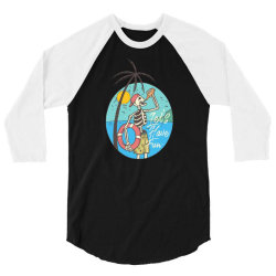 skull drink on the beach with sunset 3/4 Sleeve Shirt | Artistshot