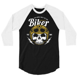skull biker wear helmet 3/4 Sleeve Shirt | Artistshot