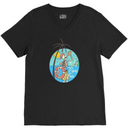 skull drink on the beach with sunset V-Neck Tee | Artistshot