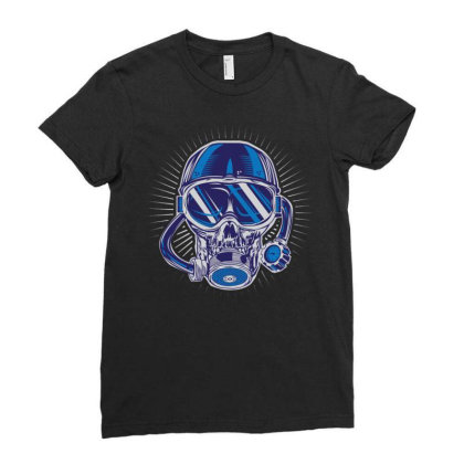 Skull Diver Ladies Fitted T-shirt Designed By Wiraart