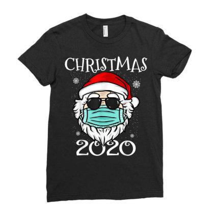 Christmas 2020 Santa Mask Quarantine Ladies Fitted T-shirt Designed By Koopshawneen