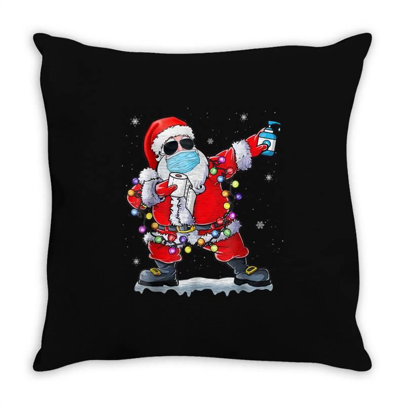 Dabbing Santa Wearing Mask Toilet Paper Christmas Throw Pillow | Artistshot