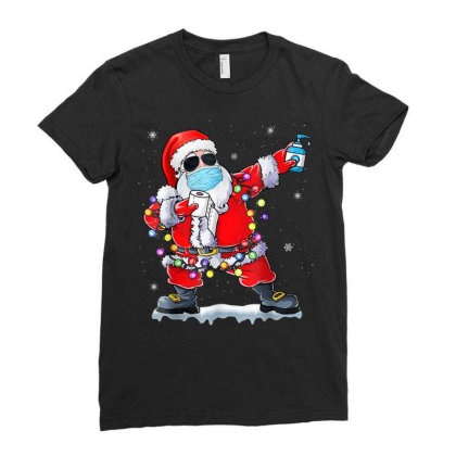 Dabbing Santa Wearing Mask Toilet Paper Christmas Ladies Fitted T-shirt Designed By Koopshawneen