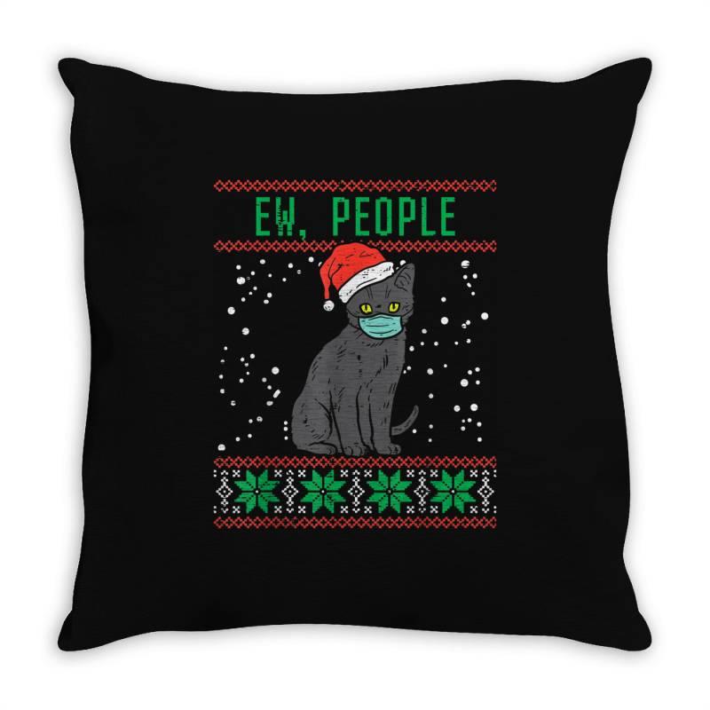 Ew People Black Cat Face Mask Throw Pillow | Artistshot