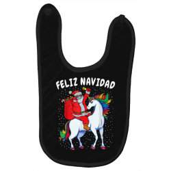 feliz navidad santa riding unicorn Baby Bibs | Artistshot