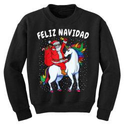feliz navidad santa riding unicorn Youth Sweatshirt | Artistshot