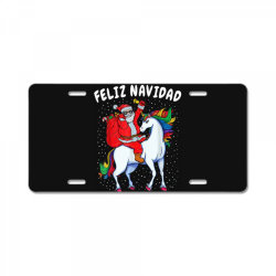 feliz navidad santa riding unicorn License Plate | Artistshot