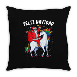 feliz navidad santa riding unicorn Throw Pillow | Artistshot