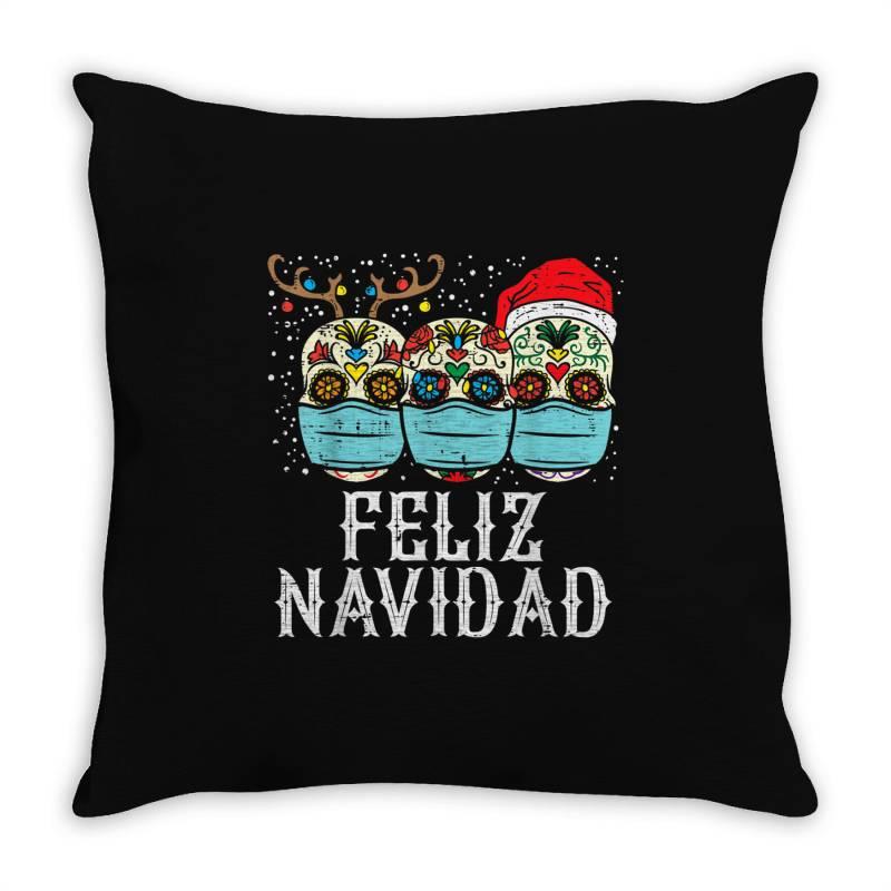 Feliz Navidad Sugar Skull In Mask Throw Pillow | Artistshot