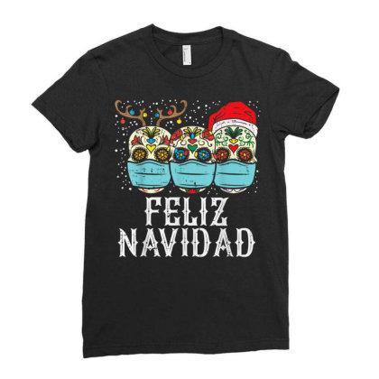 Feliz Navidad Sugar Skull In Mask Ladies Fitted T-shirt Designed By Koopshawneen