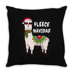 fleece feliz navidad llama christmas Throw Pillow   Artistshot