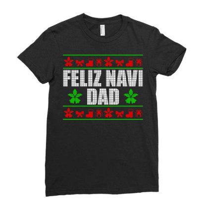 Feliz Navidad Ugly Christmas Ladies Fitted T-shirt Designed By Koopshawneen