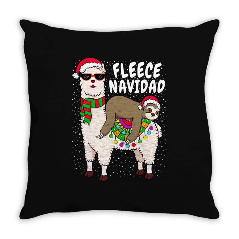 Fleece Feliz Navidad Sloth Riding Llama Throw Pillow | Artistshot