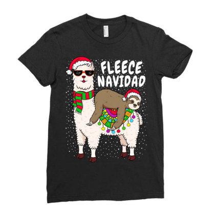 Fleece Feliz Navidad Sloth Riding Llama Ladies Fitted T-shirt Designed By Koopshawneen