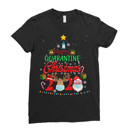 Merry Quarantine Christmas 2020 2 Ladies Fitted T-shirt Designed By Koopshawneen