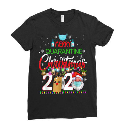 Merry Quarantine Christmas 2020 3 Ladies Fitted T-shirt Designed By Koopshawneen