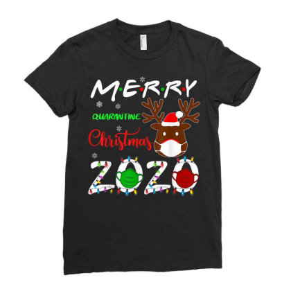 Merry Quarantine Christmas 2020 Ladies Fitted T-shirt Designed By Koopshawneen