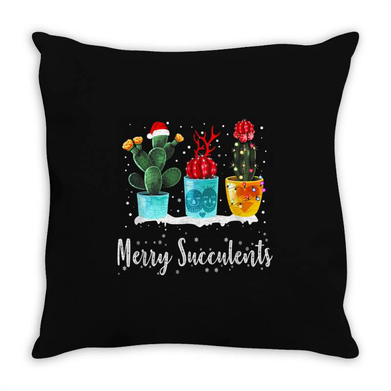 Merry Succulents Christmas Cactus Succa Throw Pillow | Artistshot