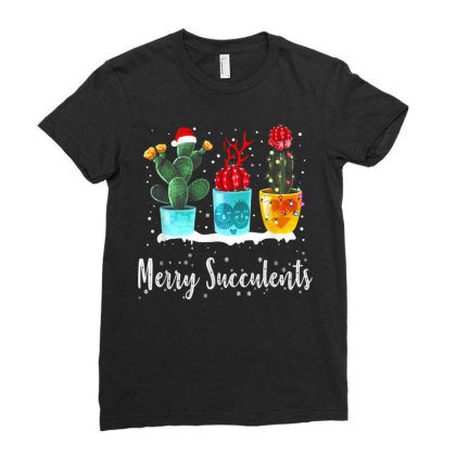 Merry Succulents Christmas Cactus Succa Ladies Fitted T-shirt Designed By Koopshawneen