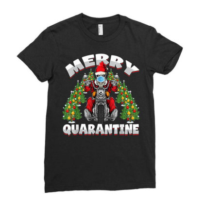 Motorcycle Hipster Santa Face Mask 2020 Ladies Fitted T-shirt Designed By Koopshawneen