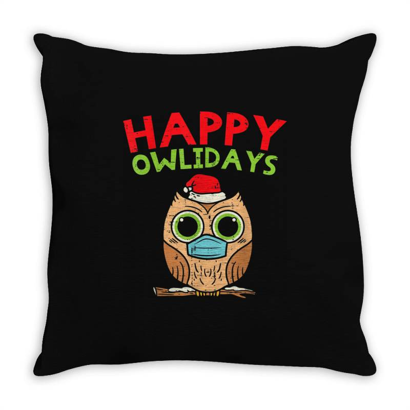Owl In Mask Cute Christmas Quarantine Throw Pillow | Artistshot