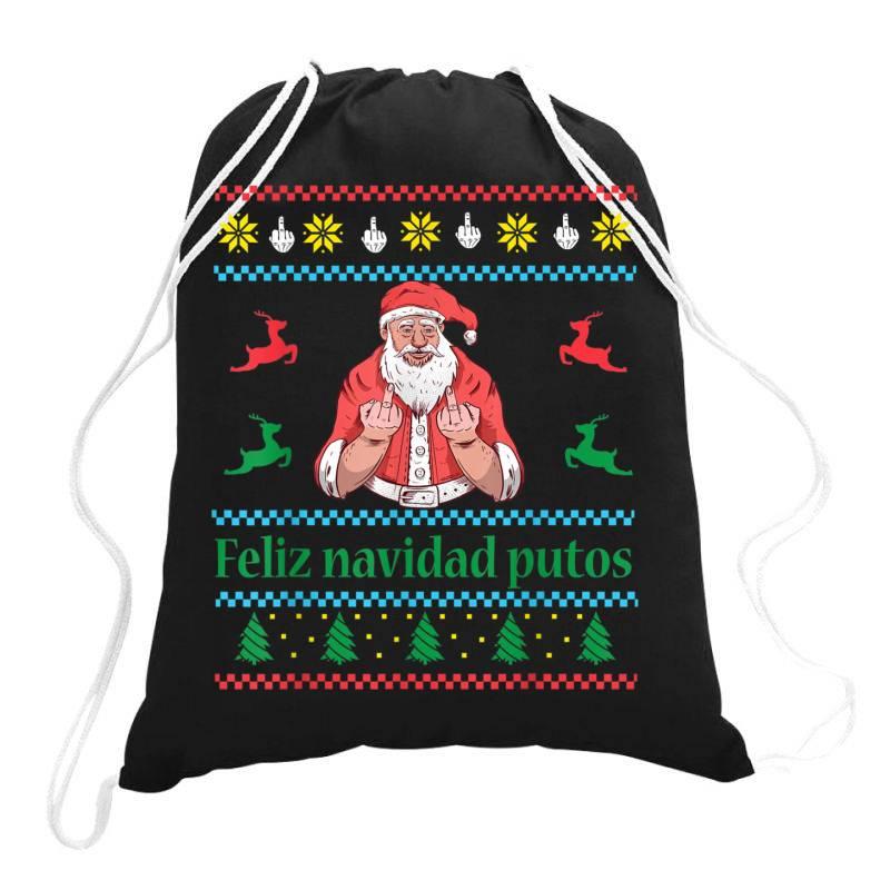 Santa Claus Middle Finger Drawstring Bags   Artistshot