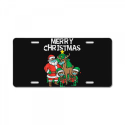 santa elves reindeer in mask License Plate | Artistshot