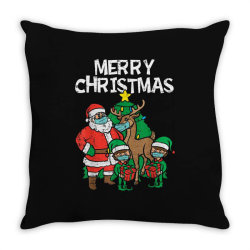 santa elves reindeer in mask Throw Pillow | Artistshot