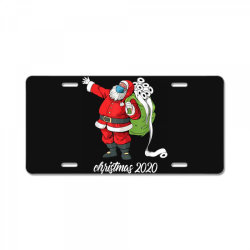 santa with face mask and toilet paper License Plate | Artistshot