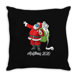 santa with face mask and toilet paper Throw Pillow | Artistshot