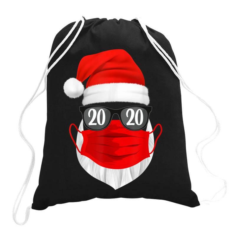 Santa With Face Mask Christmas 2020 Drawstring Bags | Artistshot