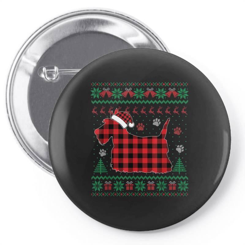 Scottie Dog Christmas Pin-back Button   Artistshot
