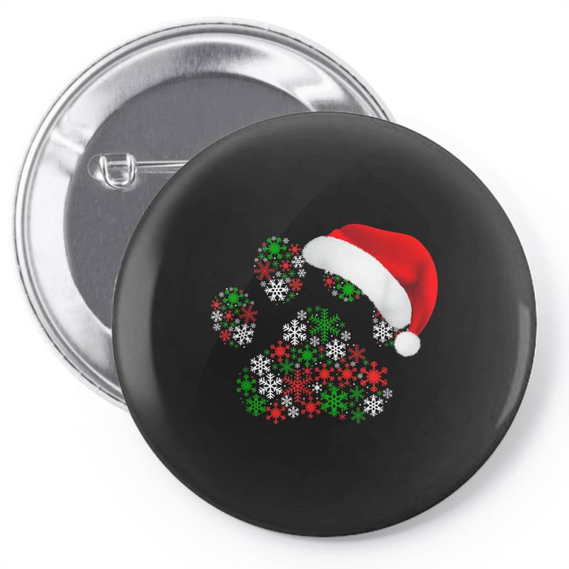 Snowflakes Dog Paw Santa Pin-back Button | Artistshot