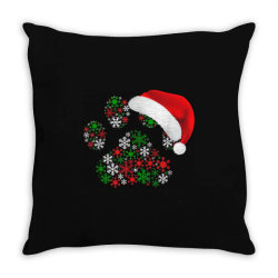 snowflakes dog paw santa Throw Pillow | Artistshot