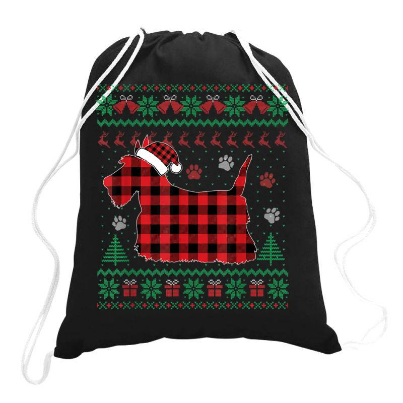 Scottie Dog Christmas Drawstring Bags | Artistshot