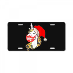 unicorn christmas face mask License Plate | Artistshot