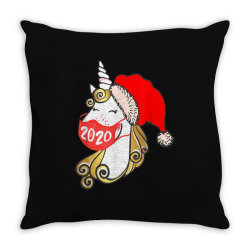 unicorn christmas face mask Throw Pillow | Artistshot