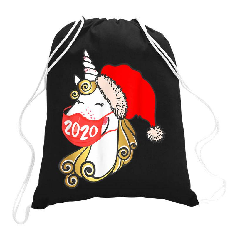 Unicorn Christmas Face Mask Drawstring Bags | Artistshot