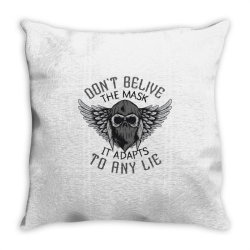 skull in bandana and hoodie with wings Throw Pillow | Artistshot