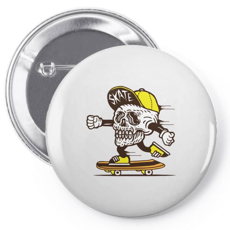 Skull Head Skater Skateboard Pin-back Button | Artistshot