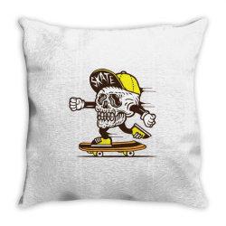 skull head skater skateboard Throw Pillow | Artistshot