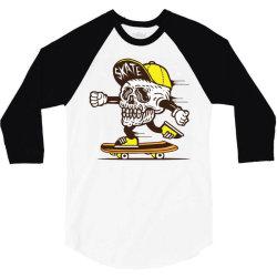 skull head skater skateboard 3/4 Sleeve Shirt   Artistshot