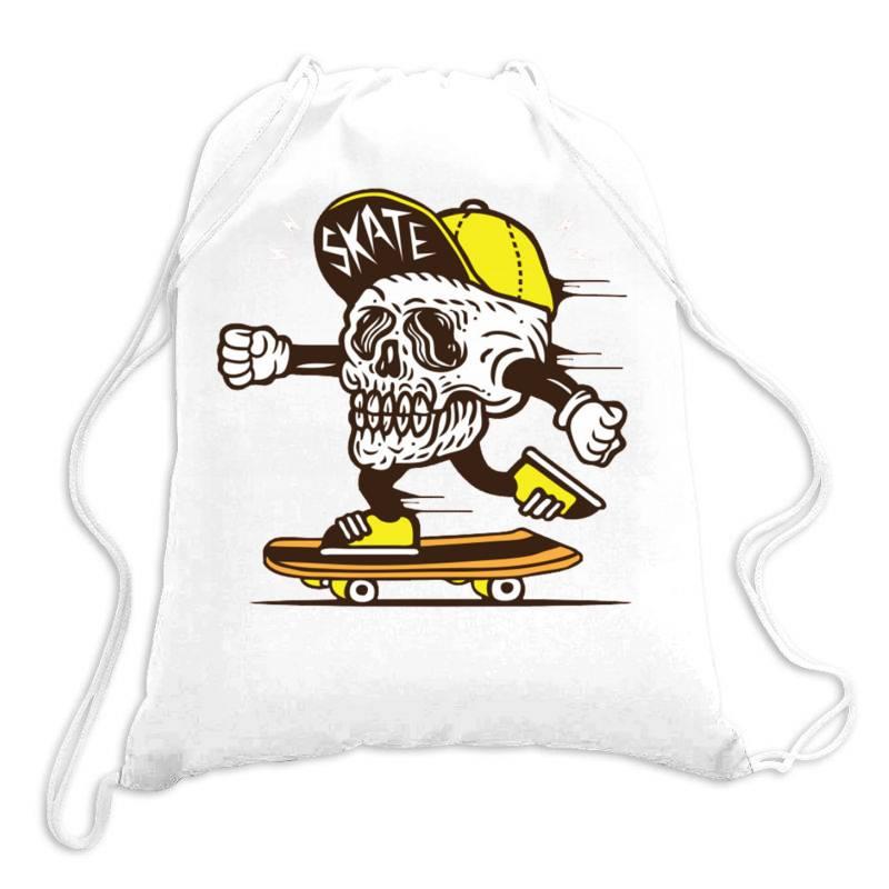 Skull Head Skater Skateboard Drawstring Bags | Artistshot