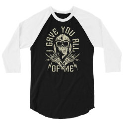 skull in bandana and hoodie with skeleton hands 3/4 Sleeve Shirt | Artistshot